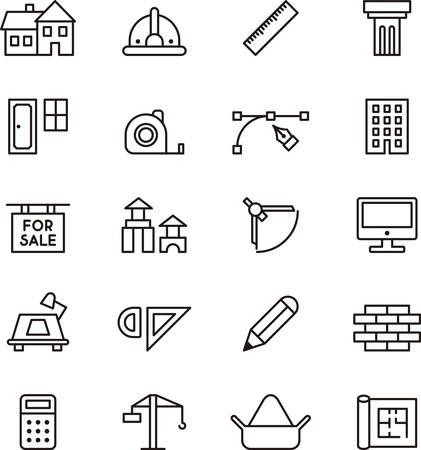 Architectuur en bouw geschetste pictogrammen Stock Illustratie