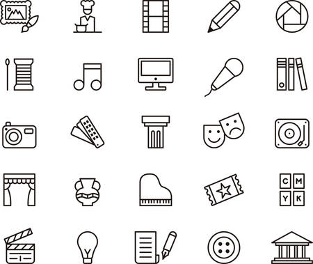 computer art: ARTS and ENTERTAINMENT outlined icons