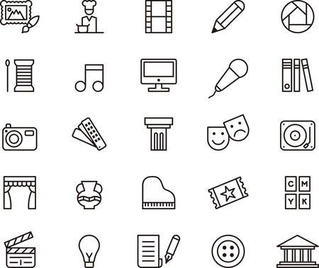 Kunst en entertainment geschetste pictogrammen