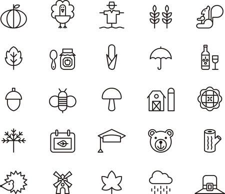 fruit basket: AUTUMN outlined icons Illustration