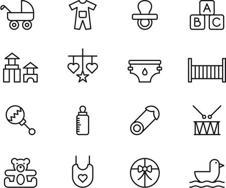 BABY outlined icons Vettoriali