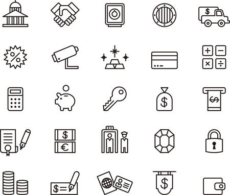 white paper bag: BANK and MONEY outlined icons
