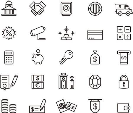 pieniądze: Bank i pieniądze przedstawione ikony Ilustracja