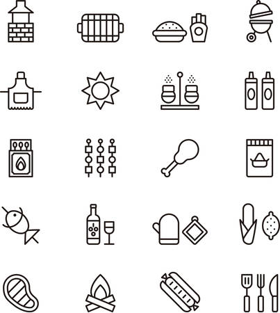 outdoor party: BBQ outlined icons Illustration