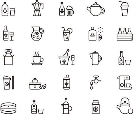 restaurante: ícones BEBIDAS e bebidas descritas Ilustração
