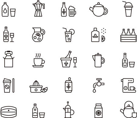 DRINKS and BEVERAGES outlined icons Imagens - 45315562