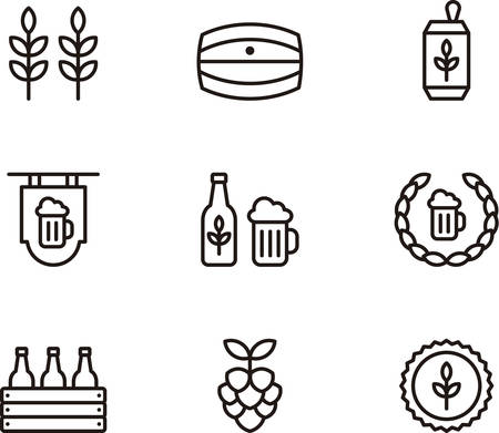 beer foam: BEER outlined icons