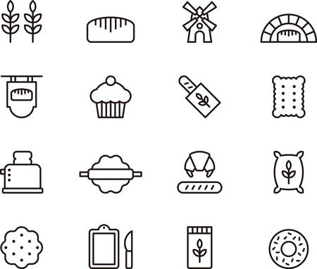 food supply: BREAD and BAKERY outlined icons