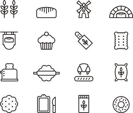 tranches de pain: Céréales panifiables décrites icônes