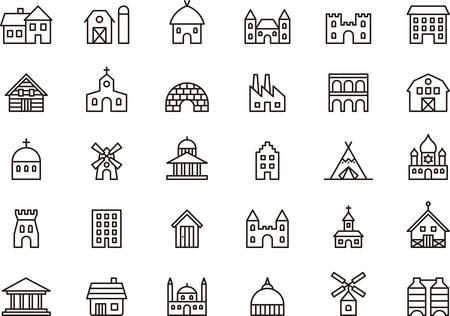 Gebouwen en structuren geschetste pictogrammen Stock Illustratie