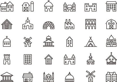 construccion: Iconos edificios y construcciones señaladas