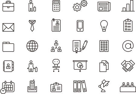 business: BUSINESS delineado ícones Ilustração