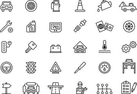 car part: Set of outlined icons related to CAR REPAIR SHOP