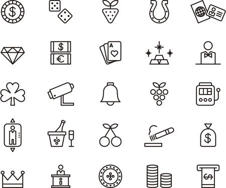 cash machine: Set of outlined icons related to CASINO and GAMING