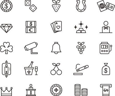 Set van geschetst pictogrammen met betrekking tot CASINO en GAMING Stock Illustratie
