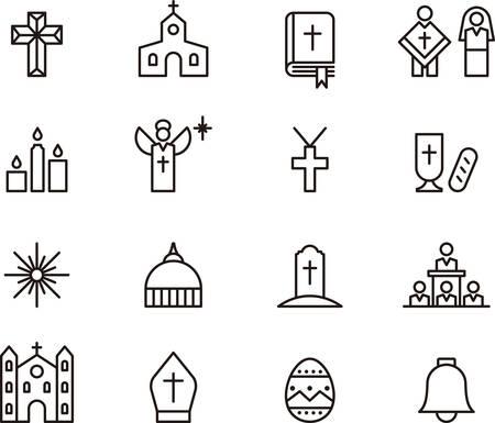 カトリックの宗教に関連する輪郭を描かれたアイコンのセット
