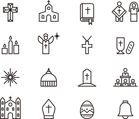 worship white: Set of outlined icons related to CATHOLIC RELIGION