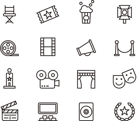 movie and popcorn: Set of outlined icons related to CINEMA