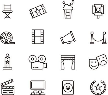 Zestaw przedstawionych ikon związanych z CINEMA