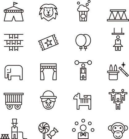 tightrope walker: Set of outlined icons related to CIRCUS