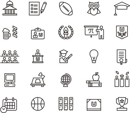 teacher and students: Set of outlined icons related to COLLEGE and EDUCATION Illustration