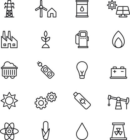 water mill: Set of outlined icons related to ENERGY