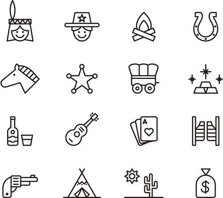 Set of outlined icons related to FAR WEST Illustration