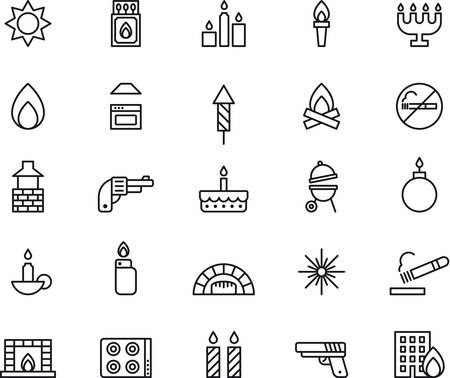 fireplace lighter: Set of outlined icons related to FIRE