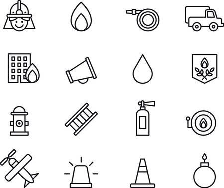 fire icon: Set of outlined icons related to FIREMAN and FIREFIGHTING