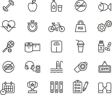 icono deportes: Conjunto de iconos descritos relacionados con salud, fitness y cuidado personal Vectores