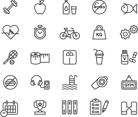 headphones icon: Set of outlined icons related to HEALTH, FITNESS and PERSONAL CARE