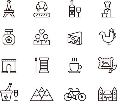 castles needle: Set of outlined icons related to FRANCE and PARIS