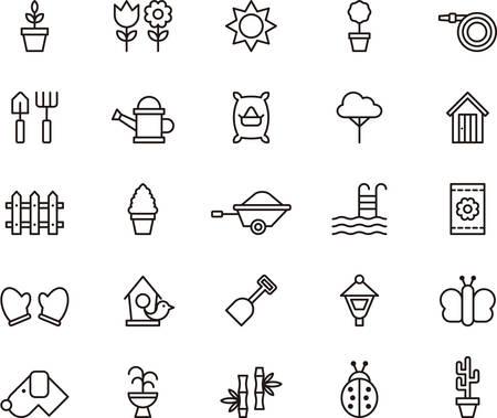 jardinero: Conjunto de iconos se indica JARDINERÍA