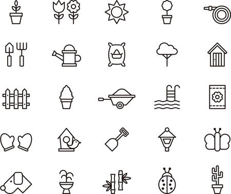 gardening equipment: Set of GARDENING outlined icons