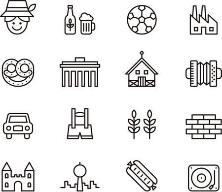 germany: Set of GERMANY outlined icons