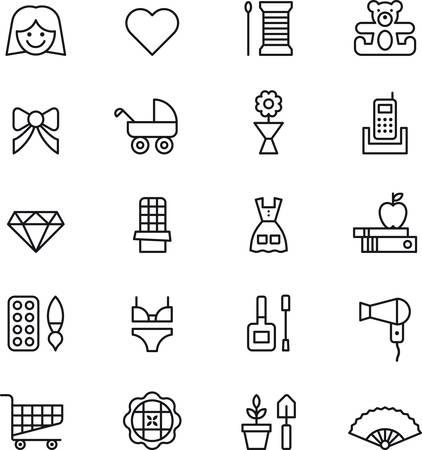 ropa interior: Juego de CHICA MUJER esbozan iconos