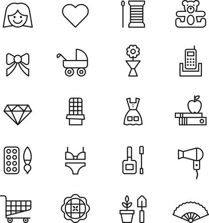 woman girl: Set of GIRL  WOMAN outlined icons