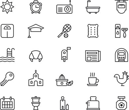 Set of GOOD MORNING outlined icons Illustration