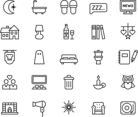 buonanotte: Set di BUONA NOTTE delineate le icone Vettoriali