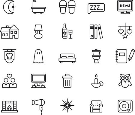 moon chair: Set of GOOD NIGHT outlined icons Illustration