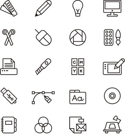 designer: Set of GRAPHIC DESIGN outlined icons