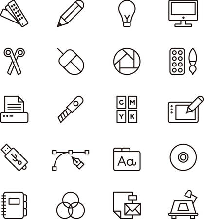 Set of GRAPHIC DESIGN outlined icons