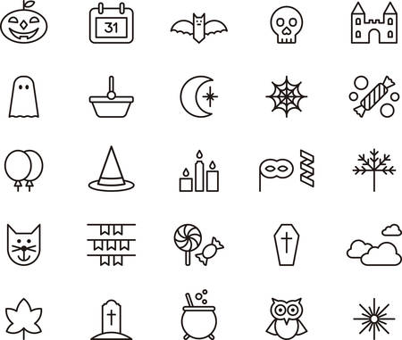 line vector: Set of HALLOWEEN outlined icons