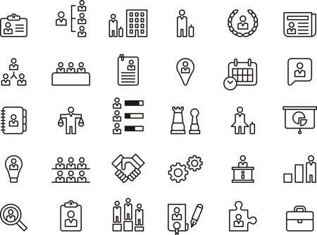 affari: Set di Commercio, società, risorse umane e LAVORATORI delineati icone