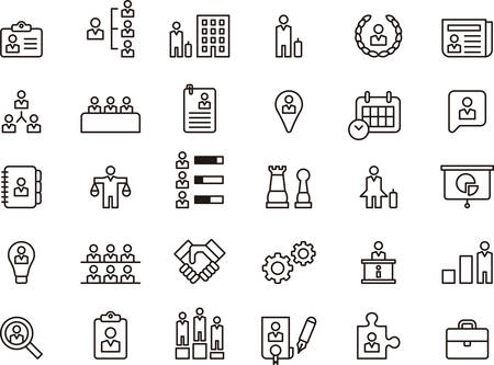 office icons: Set of BUSINESS, COMPANY, HUMAN RESOURCES and WORKERS outlined icons Illustration