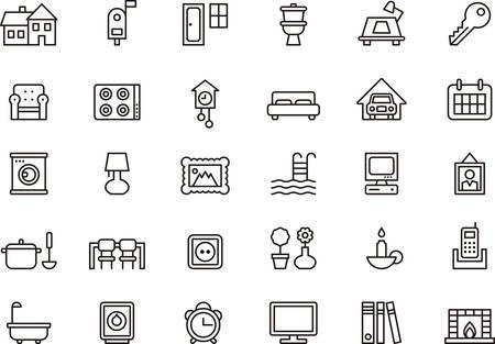 Satz von HAUS HOME umrissen Symbole Standard-Bild - 43266499