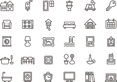 garage on house: Set of HOUSE  HOME outlined icons