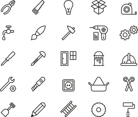 huincha de medir: Conjunto de herramientas de bricolaje esbozan iconos Vectores