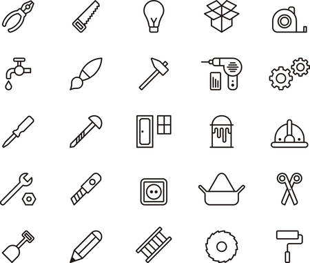 tape measure: Set of DIY TOOLS outlined icons Illustration