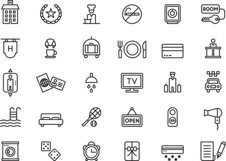 icono deportes: Conjunto de HOTEL esbozado iconos